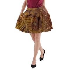 Copper Caramel Swirls Abstract Art A-Line Pocket Skirt
