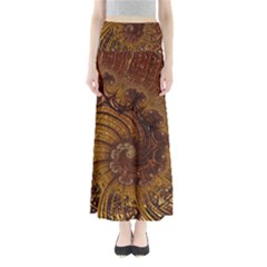 Copper Caramel Swirls Abstract Art Maxi Skirts