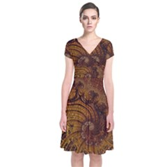 Copper Caramel Swirls Abstract Art Short Sleeve Front Wrap Dress
