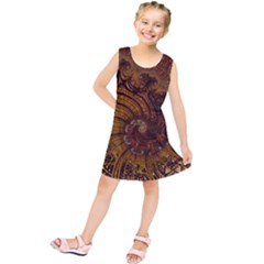 Copper Caramel Swirls Abstract Art Kids  Tunic Dress