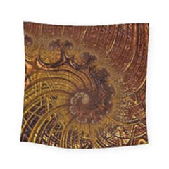 Copper Caramel Swirls Abstract Art Square Tapestry (small)