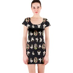 Butterfly Floral Flower Green White Short Sleeve Bodycon Dress