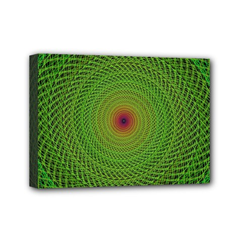 Green Fractal Simple Wire String Mini Canvas 7  X 5