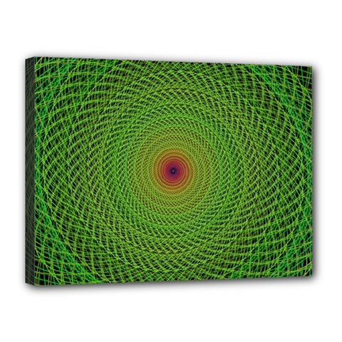 Green Fractal Simple Wire String Canvas 16  x 12