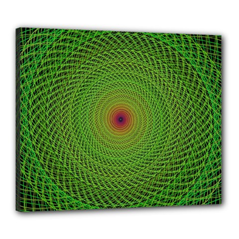 Green Fractal Simple Wire String Canvas 24  X 20