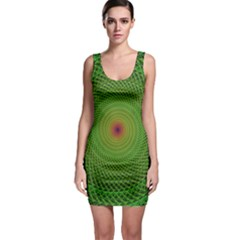 Green Fractal Simple Wire String Sleeveless Bodycon Dress