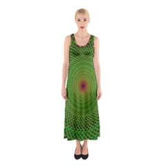 Green Fractal Simple Wire String Sleeveless Maxi Dress