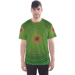 Green Fractal Simple Wire String Men s Sport Mesh Tee
