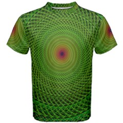 Green Fractal Simple Wire String Men s Cotton Tee