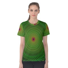 Green Fractal Simple Wire String Women s Cotton Tee