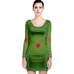 Green Fractal Simple Wire String Long Sleeve Bodycon Dress