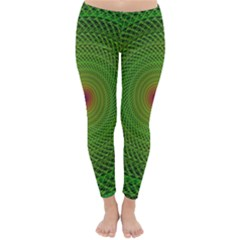 Green Fractal Simple Wire String Classic Winter Leggings