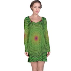 Green Fractal Simple Wire String Long Sleeve Nightdress