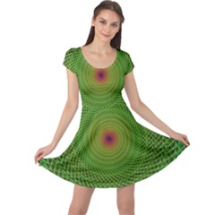 Green Fractal Simple Wire String Cap Sleeve Dresses