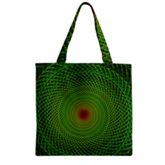 Green Fractal Simple Wire String Zipper Grocery Tote Bag