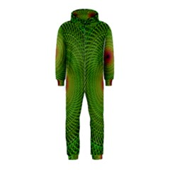 Green Fractal Simple Wire String Hooded Jumpsuit (Kids)
