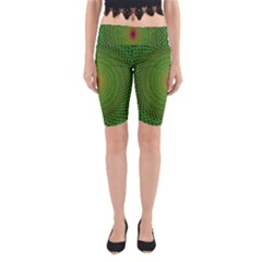 Green Fractal Simple Wire String Yoga Cropped Leggings