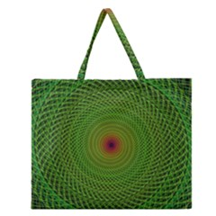 Green Fractal Simple Wire String Zipper Large Tote Bag