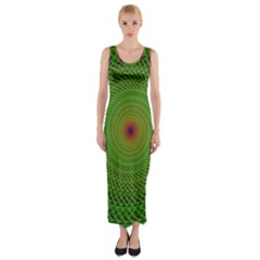 Green Fractal Simple Wire String Fitted Maxi Dress