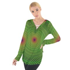 Green Fractal Simple Wire String Women s Tie Up Tee