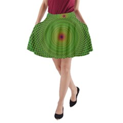 Green Fractal Simple Wire String A Line Pocket Skirt
