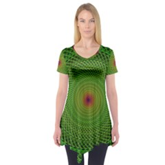 Green Fractal Simple Wire String Short Sleeve Tunic