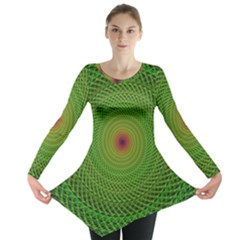 Green Fractal Simple Wire String Long Sleeve Tunic