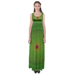 Green Fractal Simple Wire String Empire Waist Maxi Dress