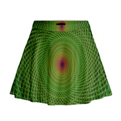 Green Fractal Simple Wire String Mini Flare Skirt