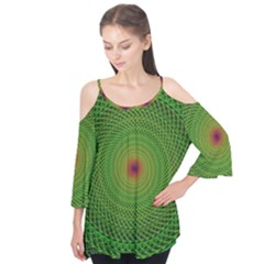 Green Fractal Simple Wire String Flutter Tees