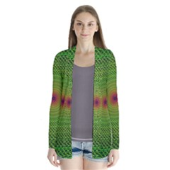Green Fractal Simple Wire String Cardigans