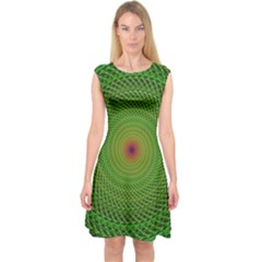 Green Fractal Simple Wire String Capsleeve Midi Dress