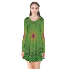 Green Fractal Simple Wire String Flare Dress