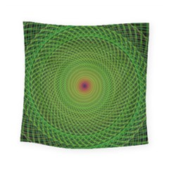 Green Fractal Simple Wire String Square Tapestry (small)
