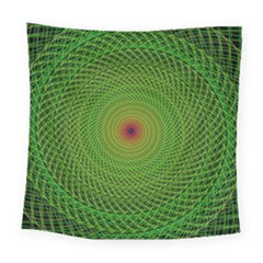 Green Fractal Simple Wire String Square Tapestry (large)