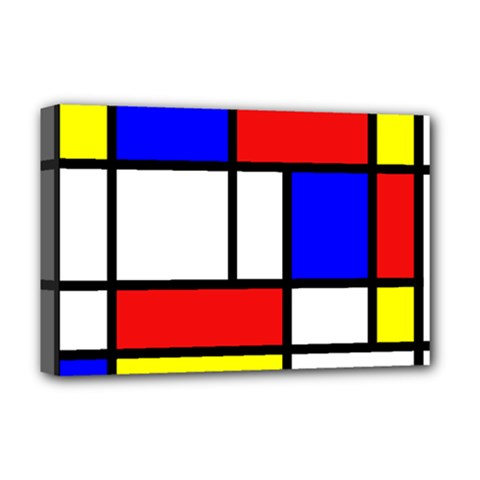 Mondrian Red Blue Yellow Deluxe Canvas 18  X 12