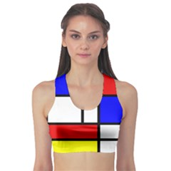 Mondrian Red Blue Yellow Sports Bra