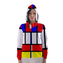 Mondrian Red Blue Yellow Hooded Wind Breaker (Women)