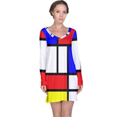 Mondrian Red Blue Yellow Long Sleeve Nightdress