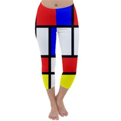 Mondrian Red Blue Yellow Capri Winter Leggings