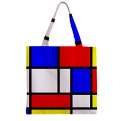 Mondrian Red Blue Yellow Zipper Grocery Tote Bag