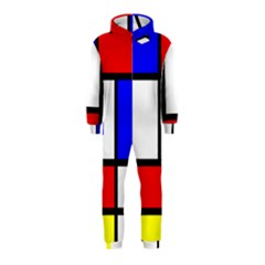 Mondrian Red Blue Yellow Hooded Jumpsuit (kids)