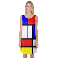 Mondrian Red Blue Yellow Sleeveless Satin Nightdress