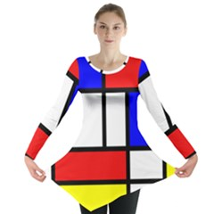 Mondrian Red Blue Yellow Long Sleeve Tunic