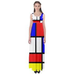 Mondrian Red Blue Yellow Empire Waist Maxi Dress
