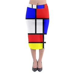 Mondrian Red Blue Yellow Midi Pencil Skirt