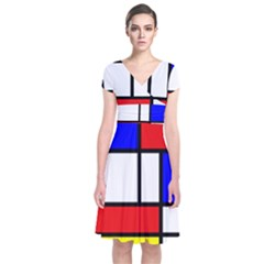 Mondrian Red Blue Yellow Short Sleeve Front Wrap Dress