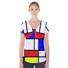 Mondrian Red Blue Yellow Short Sleeve Front Detail Top