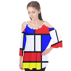 Mondrian Red Blue Yellow Flutter Tees