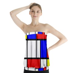 Mondrian Red Blue Yellow Strapless Top